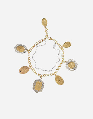 Dolce & Gabbana White And Rose Gold Bracelet With Religious Medallions