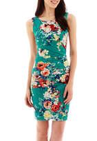 Bisou Bisou Sleeveless Floral Print Side-Ruched Sheath Dress