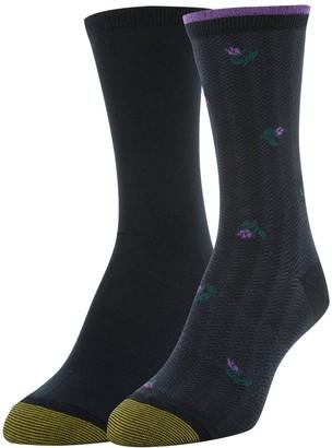 Gold Toe Women's Little Flat Knit Crew Socks 2 Pairs