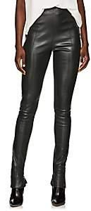 The Row Women's Hailen Leather Leggings - Oil Green