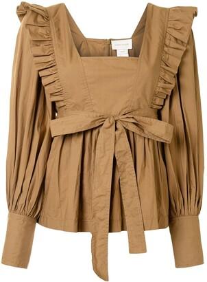 Karen Walker Chestnut ruffle-trimmed cotton blouse