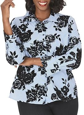 Foxcroft Plus Jane Striped & Flocked Floral Tunic