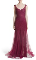 Monique Lhuillier Women's Draped Tulle & Lace Gown