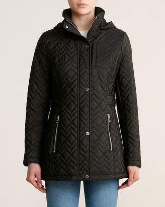 Calvin Klein Hooded Zip-Front Quilted Jacket