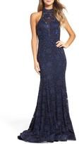 La Femme Women's Rhinestone Lace Gown