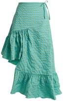 Marques Almeida MARQUES'ALMEIDA Asymmetric ruffle-hem gingham-jacquard skirt