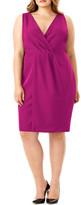 Mynt 1792 Faux Wrap Sleeveless Sheath Dress (Plus Size)
