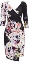 Wallis Black Floral Print Wrap Dress