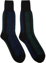 Sacai Navy and Green Striped Socks