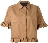 MSGM cropped sleeves shirt jacket - women - Cotton - 40