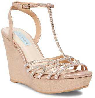 Betsey Johnson Ember Embellished T-Strap Wedge Sandal