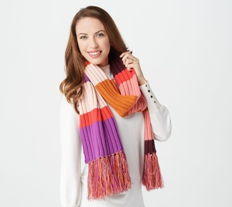 Isaac Mizrahi Live! Color-Block Stripe Long Knit Scarf