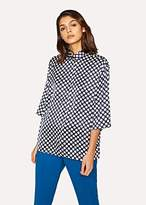 Paul Smith Women's Navy Polka Dot Three-Quarter Sleeve Shirt