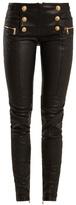 Balmain Military-button skinny-leg leather biker trousers