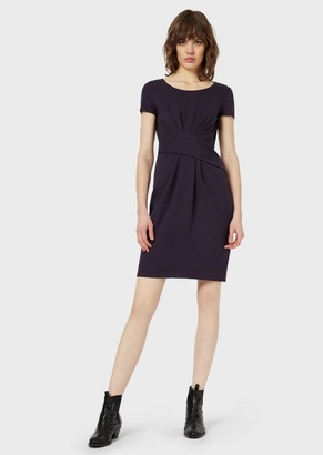 Emporio Armani Milano Stitch Fabric Dress With Darts At The Waist