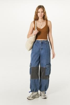 BDG Patchwork Extreme Skate Jeans - blue 24W 30L at Urban Outfitters