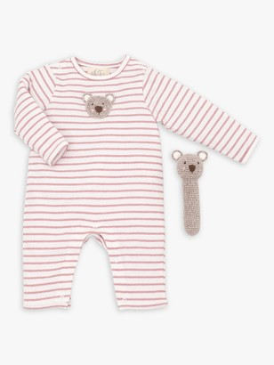 Albetta Organic Cotton Bear Babygro and Crochet Rattle Gift Set
