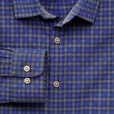 Charles Tyrwhitt Classic Fit Blue and Grey Gingham Heather Cotton Casual Shirt Single Cuff Size XL