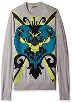Versace Men's EB5GGB824-E56584-E802 Graphic Crew Neck Sweater