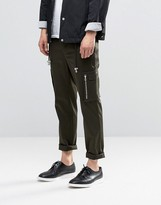 Asos Skinny Smart Pants With Side Pockets In Khaki