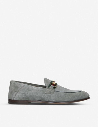 Gucci Brixton web-embellished suede loafers