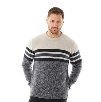 Onfire Mens Striped Sweater Midnight Navy/Mid Denim Blue/Grey