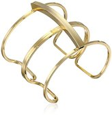 Yochi Gold-Plated Double-Link Open Cuff Bracelet, 6.5""