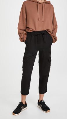 Monrow Cargo Jogger Pants with Contrast Rib