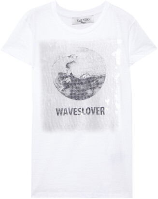 Valentino Sequin-embellished Printed Cotton-jersey T-shirt