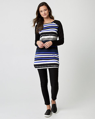 Le Château Stripe Ponte Crew Neck Tunic Top
