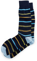 Neiman Marcus Multi-Stripe Crew Socks