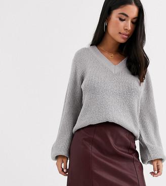 New Look Petite leather look mini skirt in burgundy