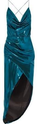 HANEY Holly Asymmetric Wrap-effect Silk-satin Midi Slip Dress