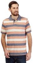 Mantaray Big And Tall Orange Textured Stripe Print Polo Shirt