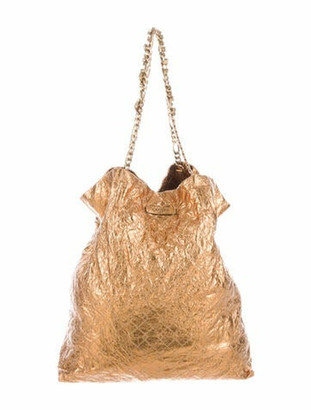 Lanvin Quilted Metallic Paper Tote Gold
