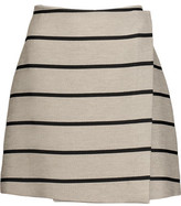 MSGM Wrap-Effect Striped Cotton And Linen-Blend Mini Skirt