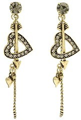 Betsey Johnson Heart Arrow Earring (Brass Ox) - Jewelry