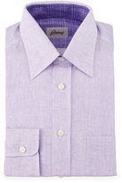 Brioni Button-Front Linen Solid Dress Shirt, Light Violet