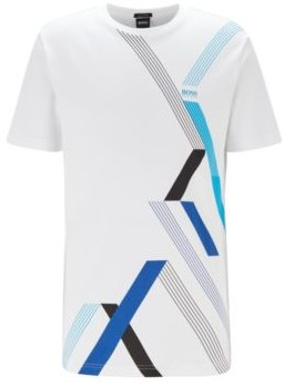 HUGO BOSS Crew Neck T Shirt In Interlock Cotton With Geometric Print - White