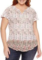 Liz Claiborne Short Sleeve Split Crew Neck T-Shirt-Womens Plus