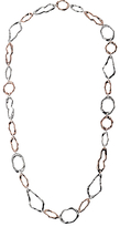 Adele Marie Irregular Hoops Necklace, Rose Gold/Silver