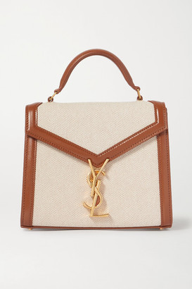 Saint Laurent Cassandra Mini Leather-trimmed Canvas Tote - Brown