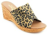 Onex Christina Women Open Toe Canvas Brown Wedge Sandal.