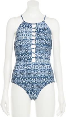 Indigo Rein Juniors Tile-Print Strappy One-Piece Swimsuit