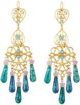Jose & Maria Barrera Agate & Crystal Filigree Chandelier Earrings, Blue