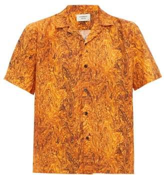Everest Isles - Oil Spill Marbled-print Cuban-collar Shirt - Mens - Orange Multi