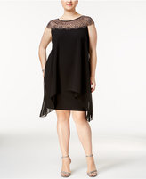 Xscape Evenings Plus Size Beaded Illusion Overlay Sheath Dress