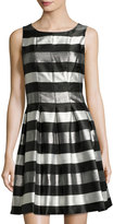 Chetta B Sleeveless Metallic-Stripe Dress, Black/Silver