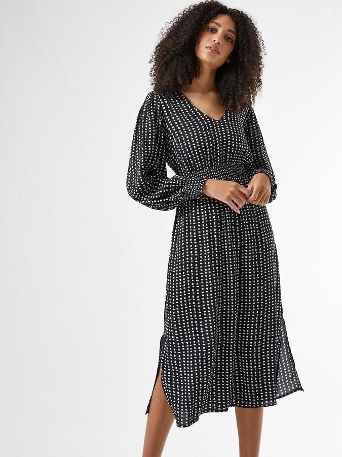 Thumbnail for your product : Dorothy Perkins ShirredWaist V Neck Midi Spot Print Dress -Black
