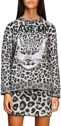 Alberta Ferretti Sweater Crew-neck Pullover With Animalier And Lynx Pattern